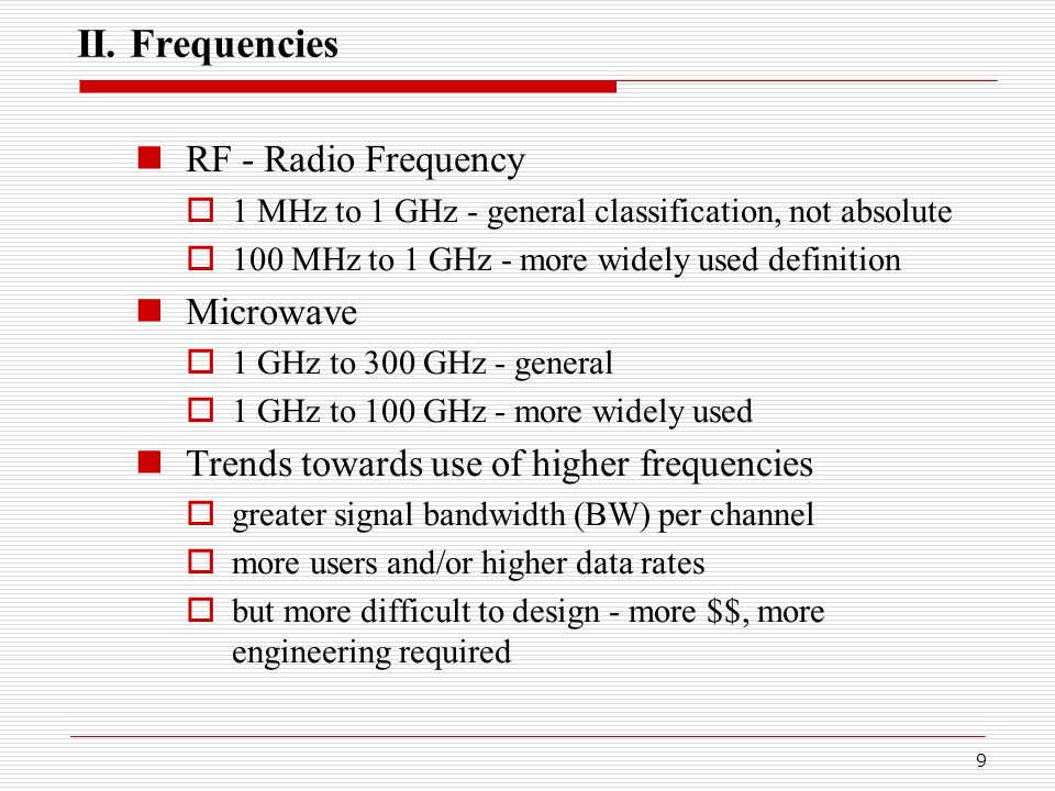 30 VI.Mobile Radio Terminology  Table 1.4, pg.