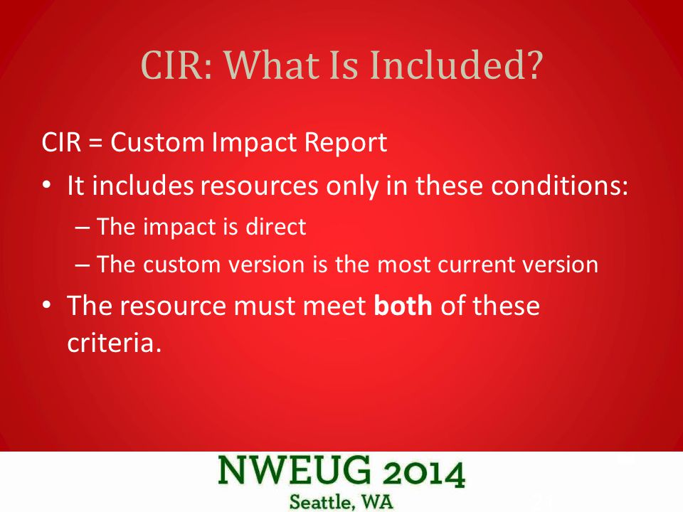 CIR: What Is Included.