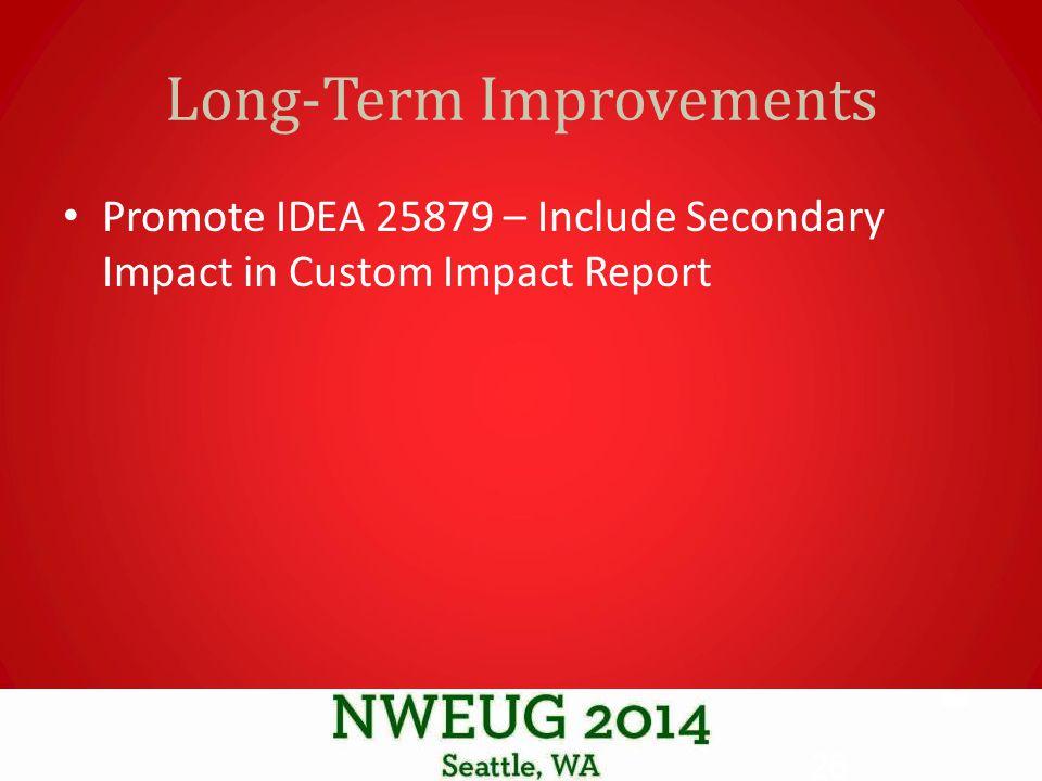Long-Term Improvements Promote IDEA 25879 – Include Secondary Impact in Custom Impact Report 26