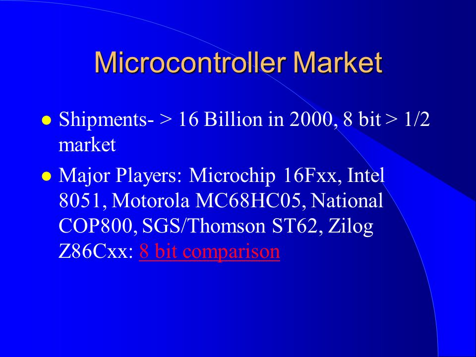 Microcontroller Market l Shipments- > 16 Billion in 2000, 8 bit > 1/2 market l Major Players: Microchip 16Fxx, Intel 8051, Motorola MC68HC05, National COP800, SGS/Thomson ST62, Zilog Z86Cxx: 8 bit comparison8 bit comparison