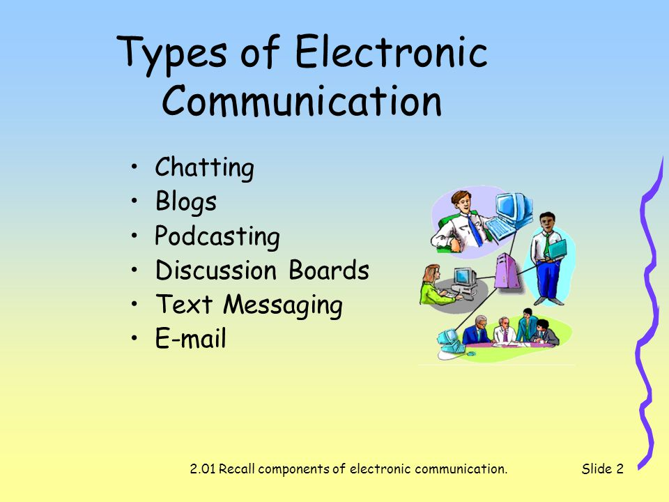 2.01 Recall components of electronic communication.Slide 3 Chat Talking in real-time to other network users from all parts of the world.