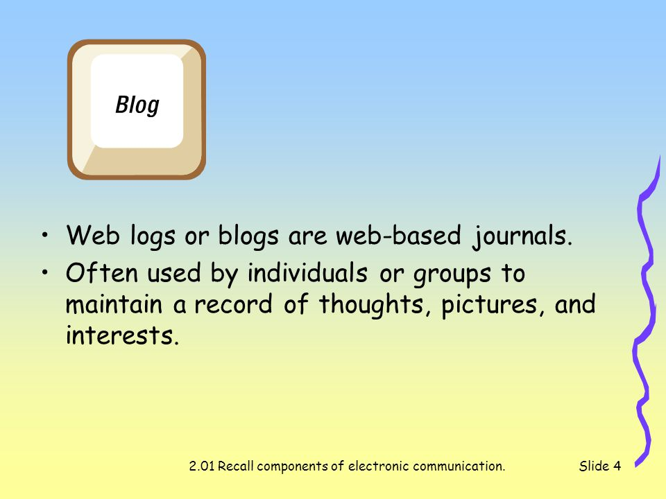 2.01 Recall components of electronic communication.Slide 4 Web logs or blogs are web-based journals.