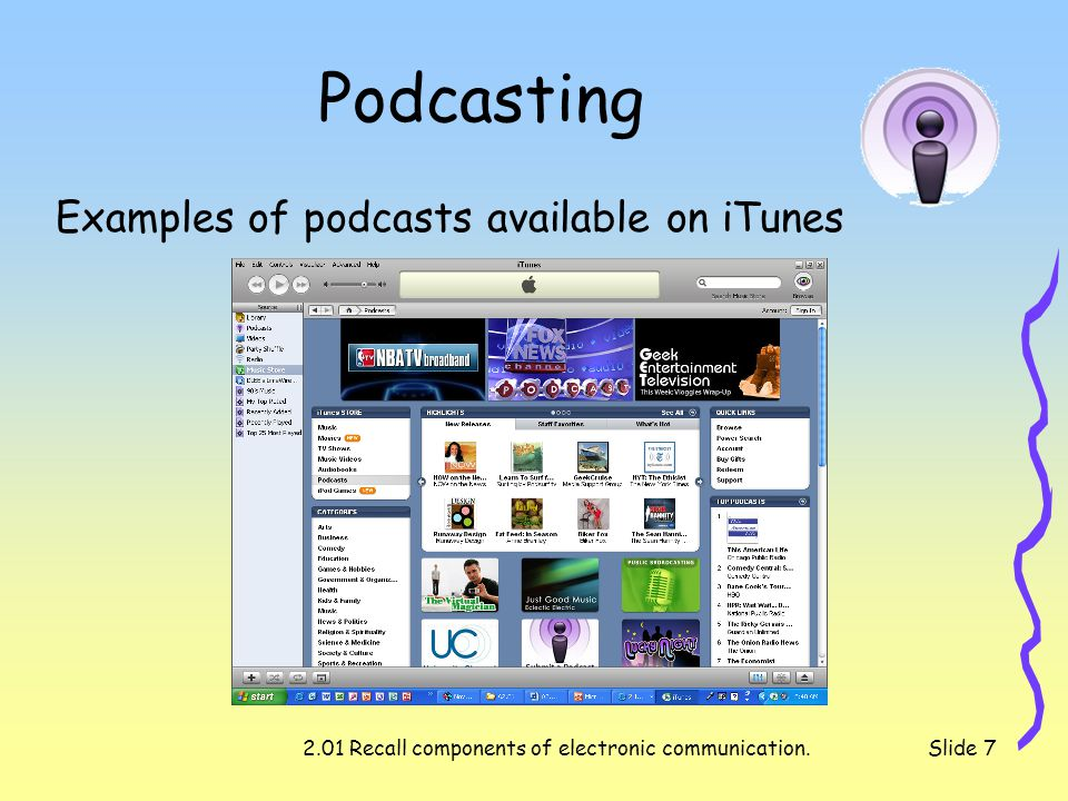 2.01 Recall components of electronic communication.Slide 7 Podcasting Examples of podcasts available on iTunes