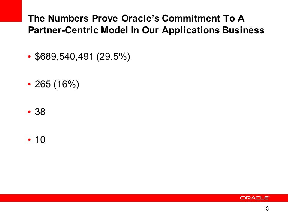 3 The Numbers Prove Oracle's Commitment To A Partner-Centric Model In Our Applications Business $689,540,491 (29.5%) 265 (16%) 38 10