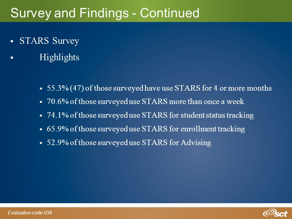 Evaluation code 036 Survey and Findings - Continued  STARS Survey  Highlights  55.3% (47) of those surveyed have use STARS for 4 or more months  70.6% of those surveyed use STARS more than once a week  74.1% of those surveyed use STARS for student status tracking  65.9% of those surveyed use STARS for enrollment tracking  52.9% of those surveyed use STARS for Advising