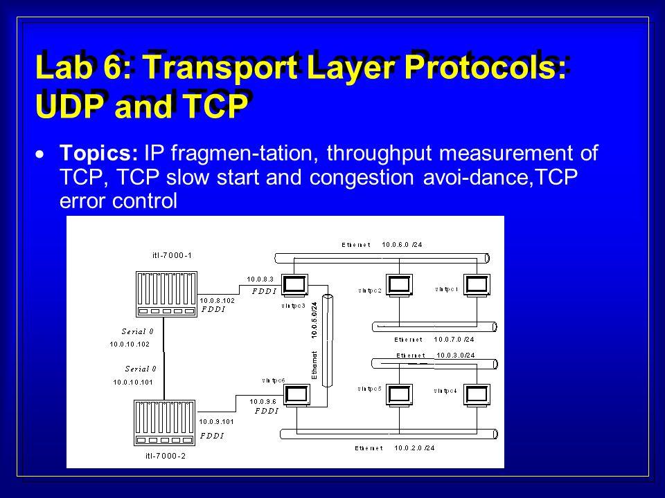 Lab 6: Transport Layer Protocols: UDP and TCP  Topics: IP fragmen-tation, throughput measurement of TCP, TCP slow start and congestion avoi-dance,TCP error control