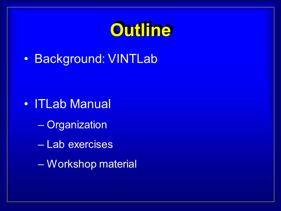 Background: VINTLab ITLab Manual –Organization –Lab exercises –Workshop material OutlineOutline