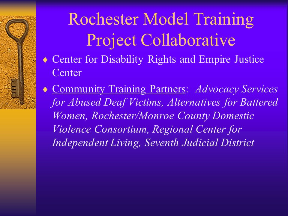 Rochester Model Training Project Collaborative  Center for Disability Rights and Empire Justice Center  Community Training Partners: Advocacy Services for Abused Deaf Victims, Alternatives for Battered Women, Rochester/Monroe County Domestic Violence Consortium, Regional Center for Independent Living, Seventh Judicial District