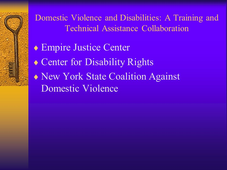 Domestic Violence and Disabilities: A Training and Technical Assistance Collaboration  Empire Justice Center  Center for Disability Rights  New York State Coalition Against Domestic Violence