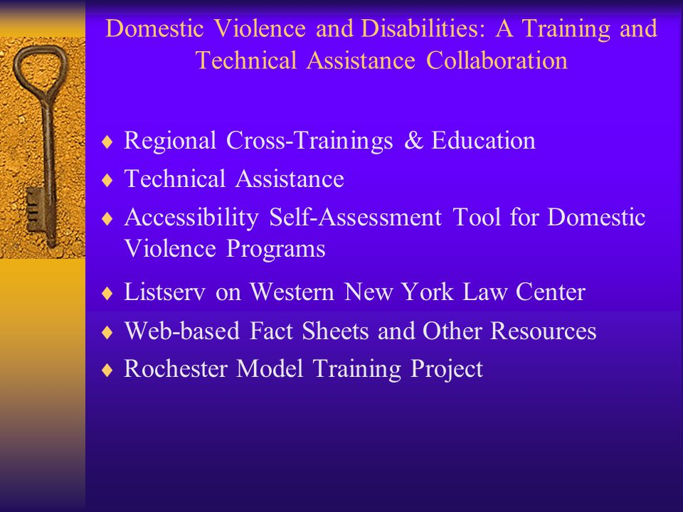 Domestic Violence and Disabilities: A Training and Technical Assistance Collaboration  Regional Cross-Trainings & Education  Technical Assistance  Accessibility Self-Assessment Tool for Domestic Violence Programs  Listserv on Western New York Law Center  Web-based Fact Sheets and Other Resources  Rochester Model Training Project