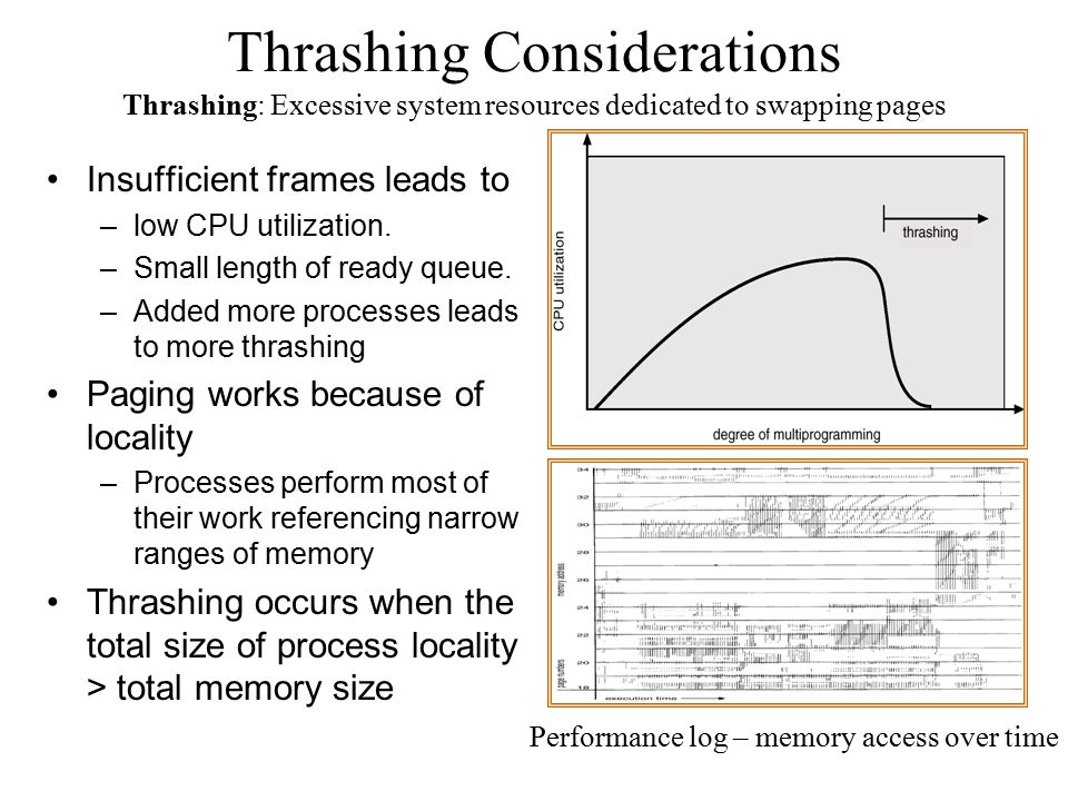 Thrashing Considerations Insufficient frames leads to –low CPU utilization. –Small length of ready queue. –Added more processes leads to more thrashin