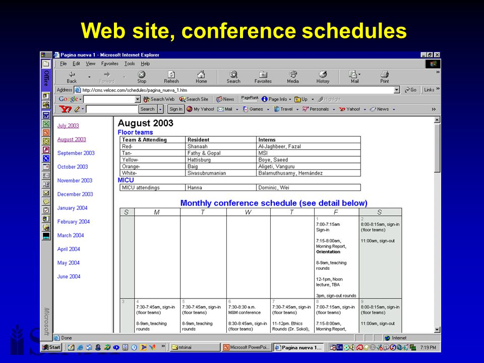 Version 11/1/03, subject to change Web site, conference schedules