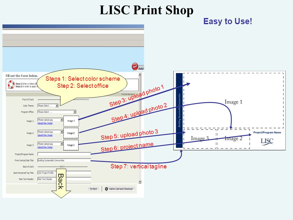 LISC Print Shop Steps 1: Select color scheme Step 2: Select office Back Easy to Use.