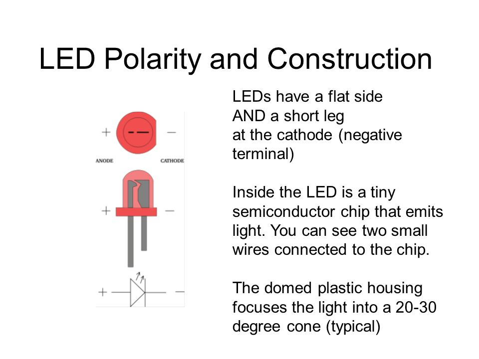 LED Polarity and Construction LEDs have a flat side AND a short leg at the cathode (negative terminal) Inside the LED is a tiny semiconductor chip that emits light.