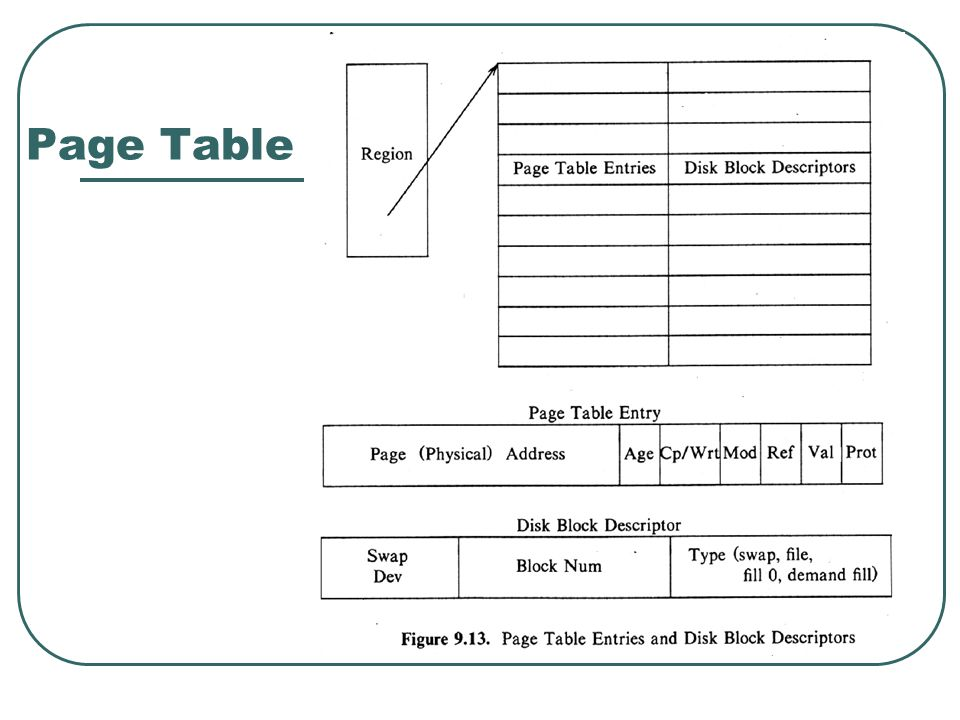 Page Table Entry Demand paging fields Valid Reference Modify Copy on Write (COW) Age Modify, Reference -handle by the hardware