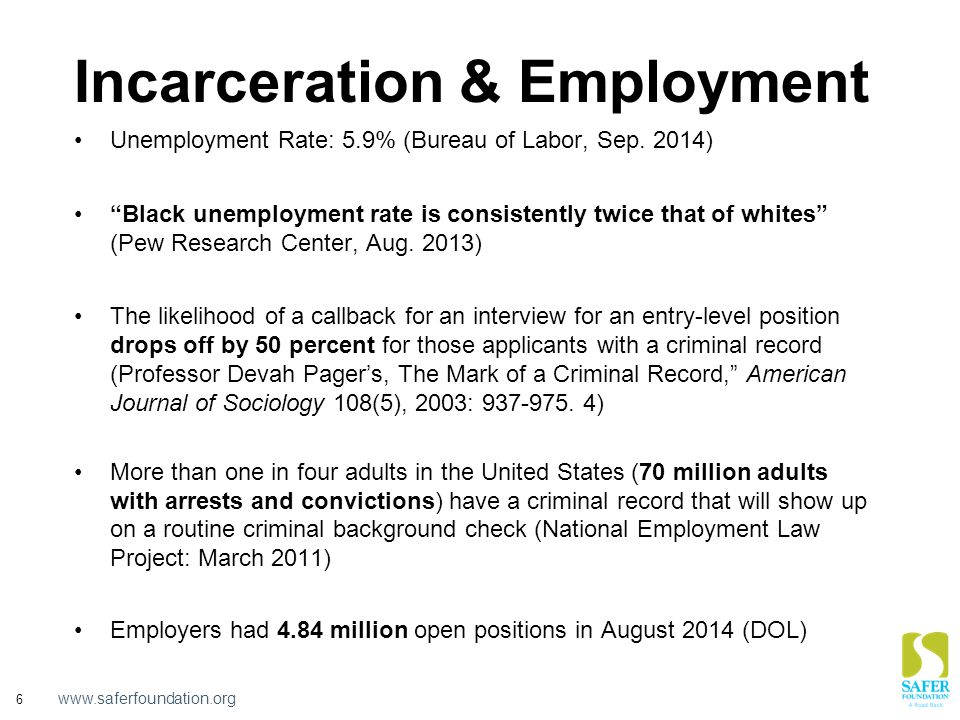 "www.saferfoundation.org 6 Incarceration & Employment Unemployment Rate: 5.9% (Bureau of Labor, Sep. 2014) ""Black unemployment rate is consistently twi"