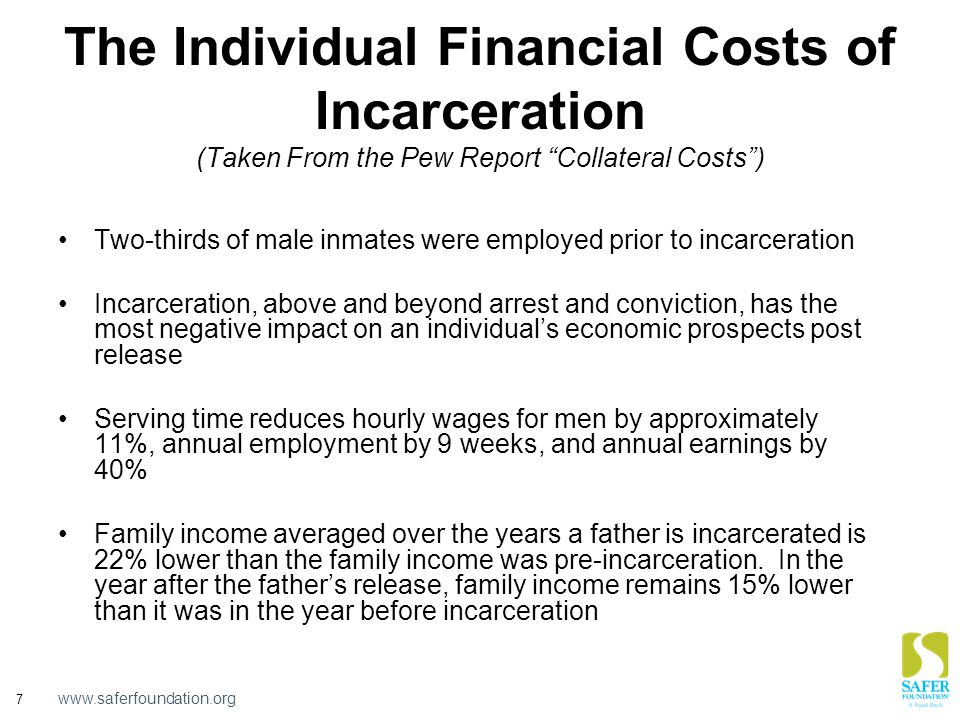 www.saferfoundation.org 7 The Individual Financial Costs of Incarceration (Taken From the Pew Report Collateral Costs ) Two-thirds of male inmates were employed prior to incarceration Incarceration, above and beyond arrest and conviction, has the most negative impact on an individual's economic prospects post release Serving time reduces hourly wages for men by approximately 11%, annual employment by 9 weeks, and annual earnings by 40% Family income averaged over the years a father is incarcerated is 22% lower than the family income was pre-incarceration.