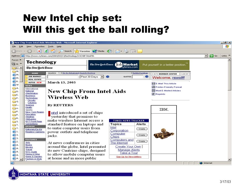 3/17/03 New Intel chip set: Will this get the ball rolling