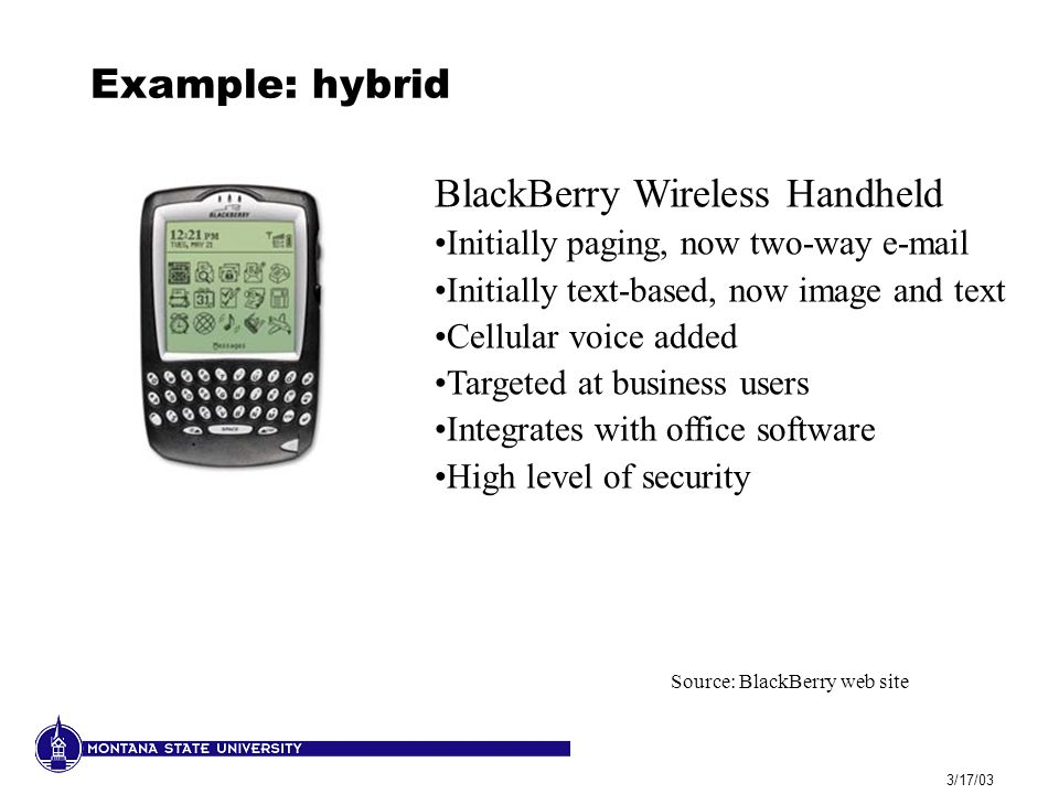 3/17/03 Example: hybrid BlackBerry Wireless Handheld Initially paging, now two-way e-mail Initially text-based, now image and text Cellular voice adde