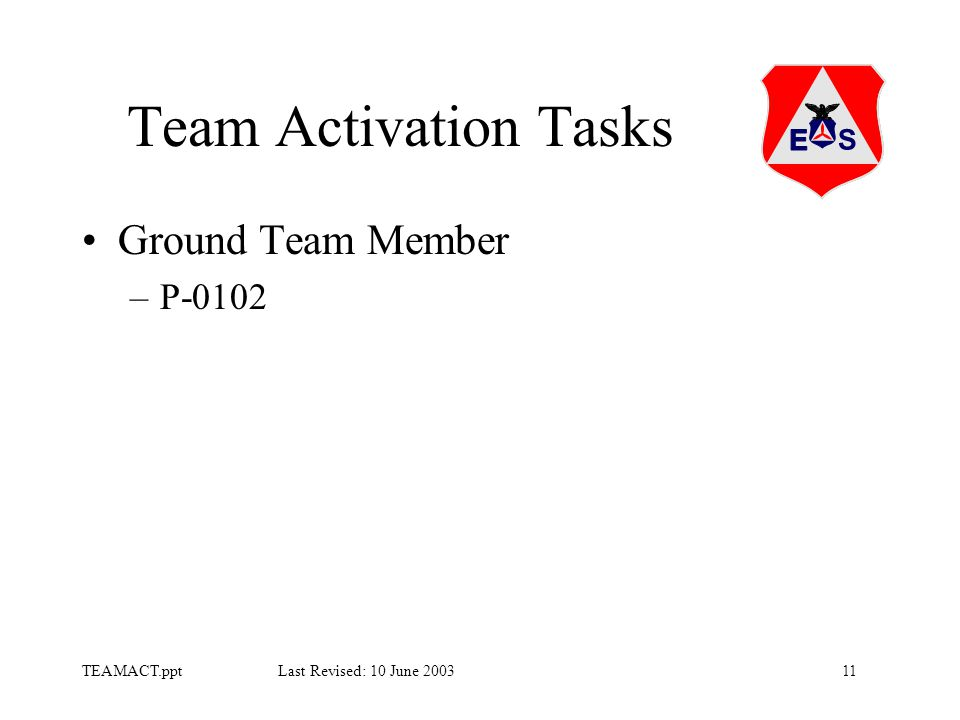 11TEAMACT.ppt Last Revised: 10 June 2003 Team Activation Tasks Ground Team Member –P-0102