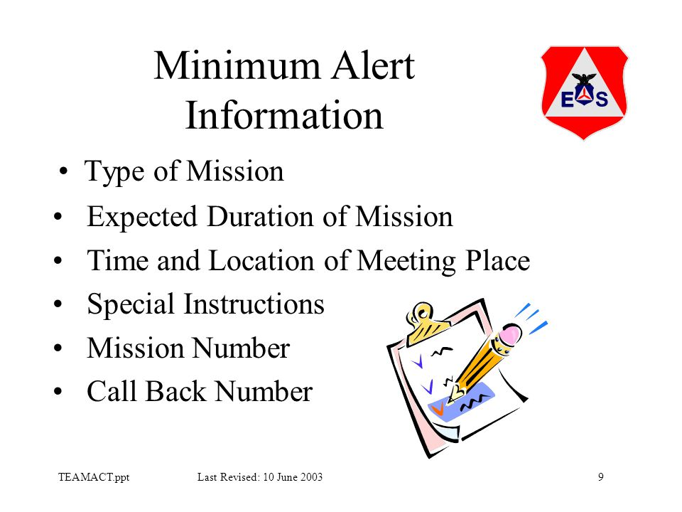 9TEAMACT.ppt Last Revised: 10 June 2003 Minimum Alert Information Type of Mission Expected Duration of Mission Time and Location of Meeting Place Special Instructions Mission Number Call Back Number