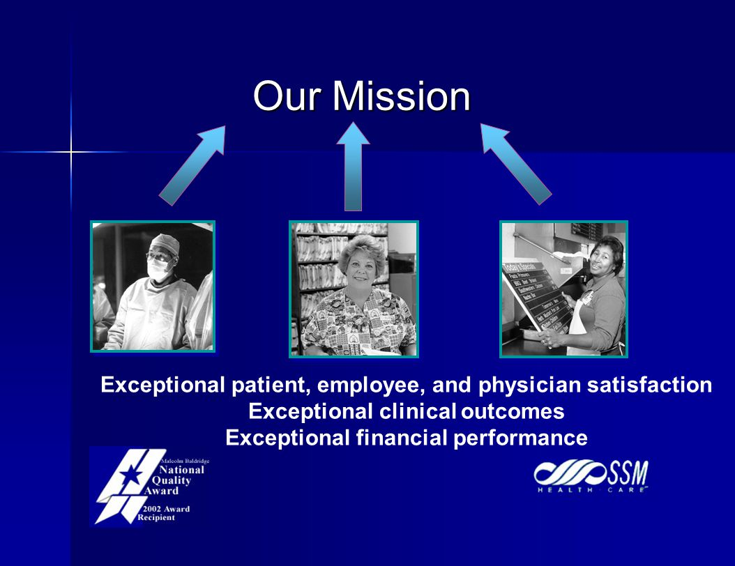 Our Mission Exceptional patient, employee, and physician satisfaction Exceptional clinical outcomes Exceptional financial performance