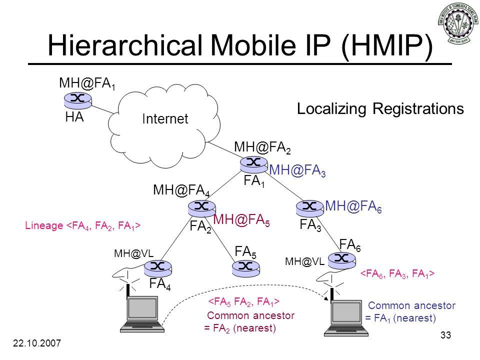 22.10.2007 33 Hierarchical Mobile IP (HMIP) Internet Localizing Registrations HA FA 1 FA 2 FA 3 FA 4 FA 5 FA 6 MH@FA 1 MH@FA 2 MH@FA 4 MH@VL Lineage MH@FA 5 Common ancestor = FA 2 (nearest) Common ancestor = FA 1 (nearest) MH@FA 3 MH@FA 6 MH@VL