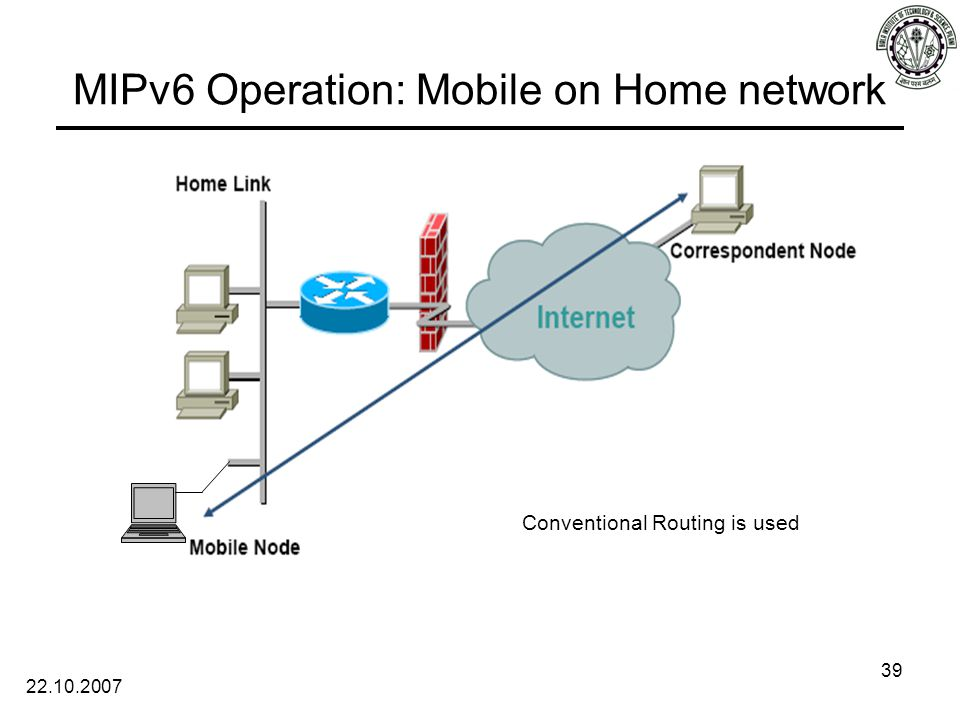 22.10.2007 39 MIPv6 Operation: Mobile on Home network Conventional Routing is used