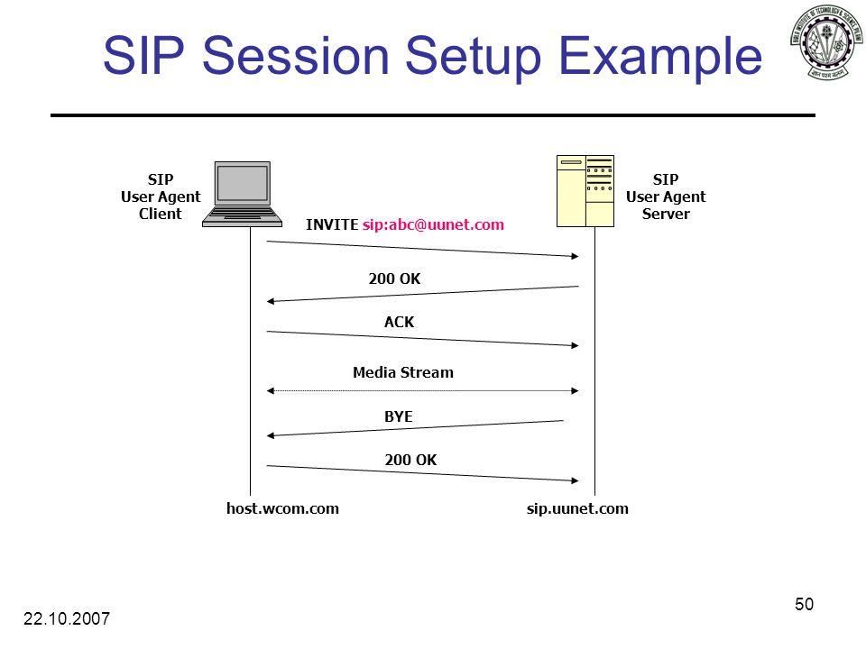 22.10.2007 50 SIP Session Setup Example 200 OK ACK INVITE sip:abc@uunet.com host.wcom.comsip.uunet.com SIP User Agent Client SIP User Agent Server BYE 200 OK Media Stream