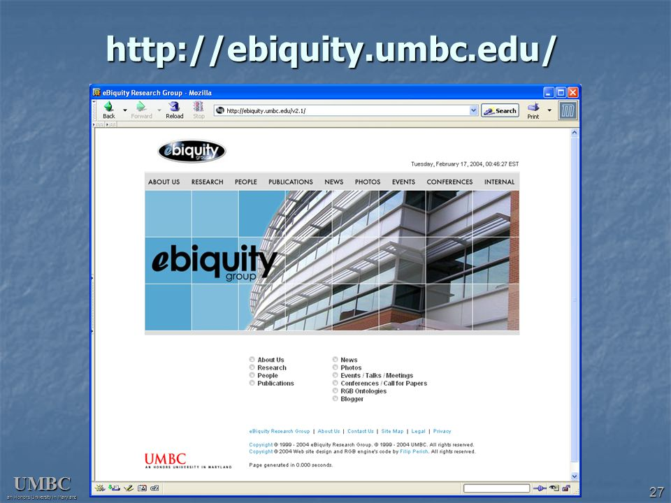 UMBC an Honors University in Maryland 27 http://ebiquity.umbc.edu/