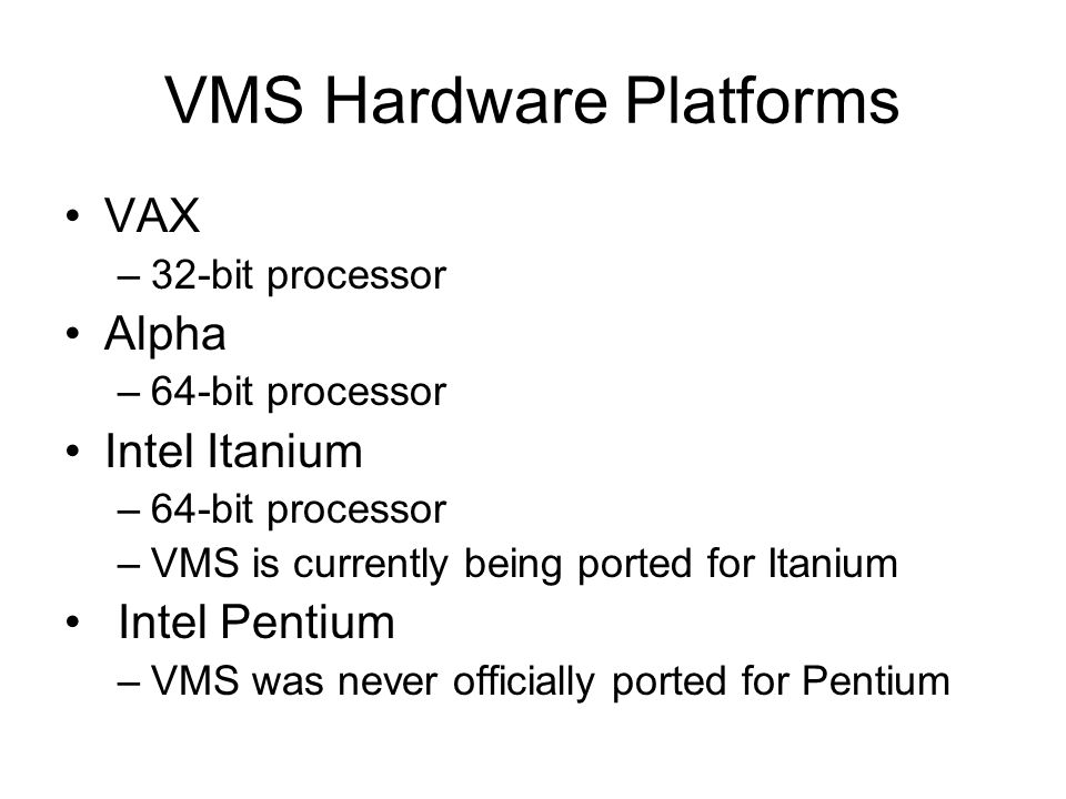 VMS Memory Management The Swapper –Responsible for processes into and out of memory –Works with same criteria as pagers Higher processes gets priority Memory Allocation Unit –Memory Page Size Fixed –512 bytes (VAX VMS) Variable –8 to 64 kilobytes (OpenVMS Alpha) –For compatibility 512 byte area pagelet is available