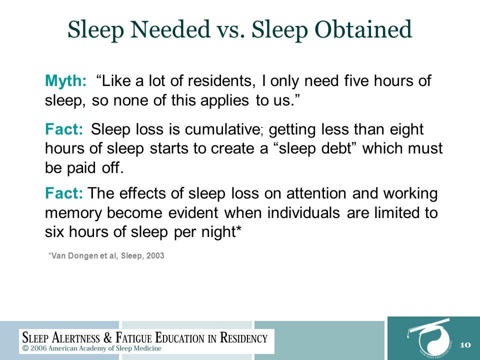 10 Sleep Needed vs.