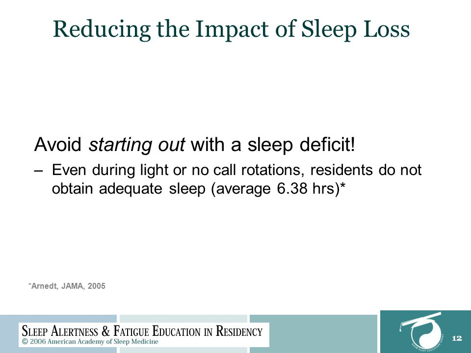 12 Avoid starting out with a sleep deficit.