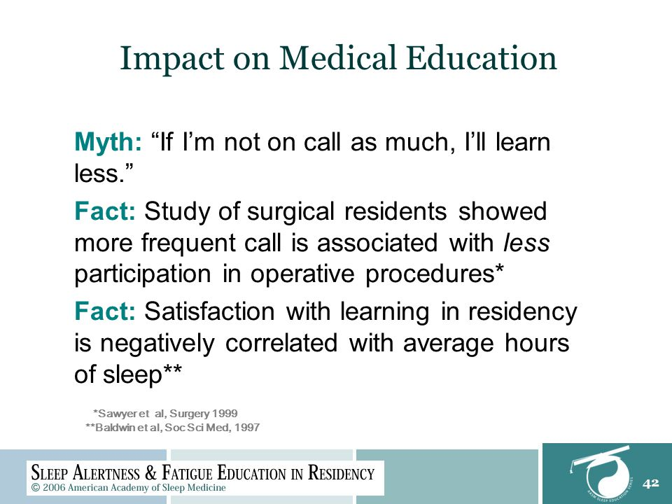 42 Impact on Medical Education *Sawyer et al, Surgery 1999 **Baldwin et al, Soc Sci Med, 1997 Myth: If I'm not on call as much, I'll learn less. Fact: Study of surgical residents showed more frequent call is associated with less participation in operative procedures* Fact: Satisfaction with learning in residency is negatively correlated with average hours of sleep**