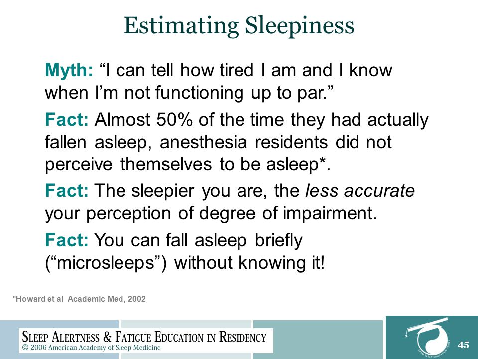 45 Estimating Sleepiness Myth: I can tell how tired I am and I know when I'm not functioning up to par. Fact: Almost 50% of the time they had actually fallen asleep, anesthesia residents did not perceive themselves to be asleep*.