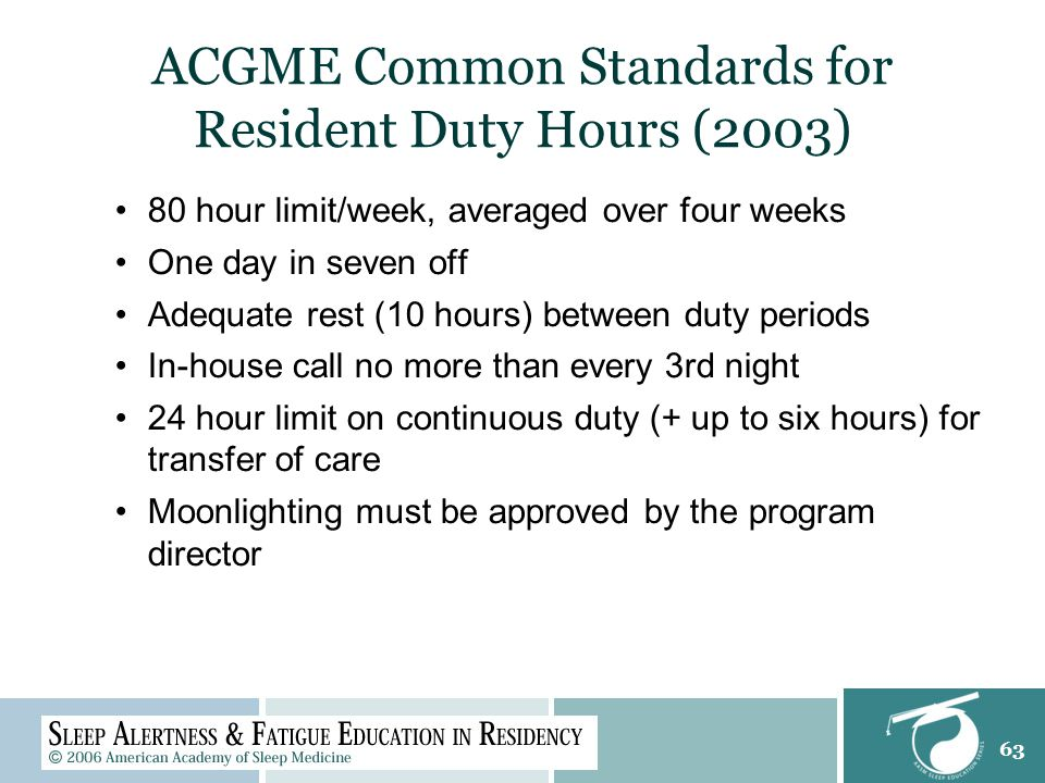 63 ACGME Common Standards for Resident Duty Hours (2003) 80 hour limit/week, averaged over four weeks One day in seven off Adequate rest (10 hours) between duty periods In-house call no more than every 3rd night 24 hour limit on continuous duty (+ up to six hours) for transfer of care Moonlighting must be approved by the program director