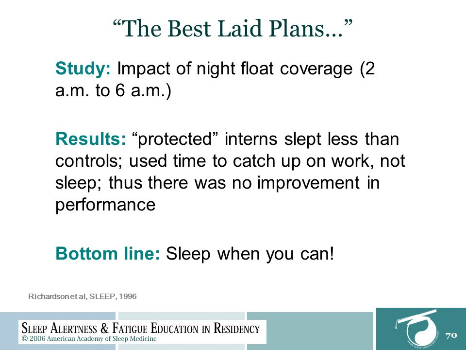 """70 """"The Best Laid Plans…"""" Study: Impact of night float coverage (2 a.m. to 6 a.m.) Results: """"protected"""" interns slept less than controls; used time to"""