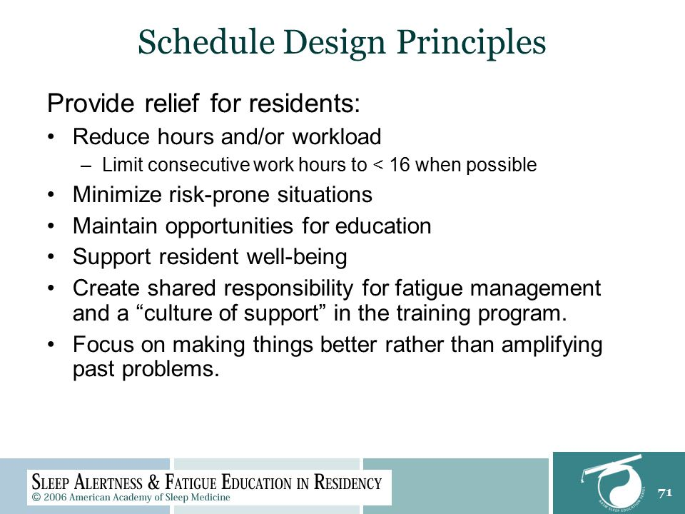 71 Schedule Design Principles Provide relief for residents: Reduce hours and/or workload –Limit consecutive work hours to < 16 when possible Minimize