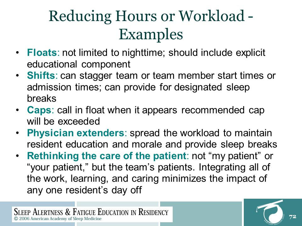 72 Reducing Hours or Workload - Examples Floats: not limited to nighttime; should include explicit educational component Shifts: can stagger team or team member start times or admission times; can provide for designated sleep breaks Caps: call in float when it appears recommended cap will be exceeded Physician extenders: spread the workload to maintain resident education and morale and provide sleep breaks Rethinking the care of the patient: not my patient or your patient, but the team's patients.