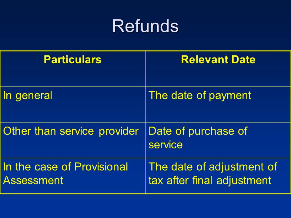 Refunds ParticularsRelevant Date In generalThe date of payment Other than service providerDate of purchase of service In the case of Provisional Assessment The date of adjustment of tax after final adjustment