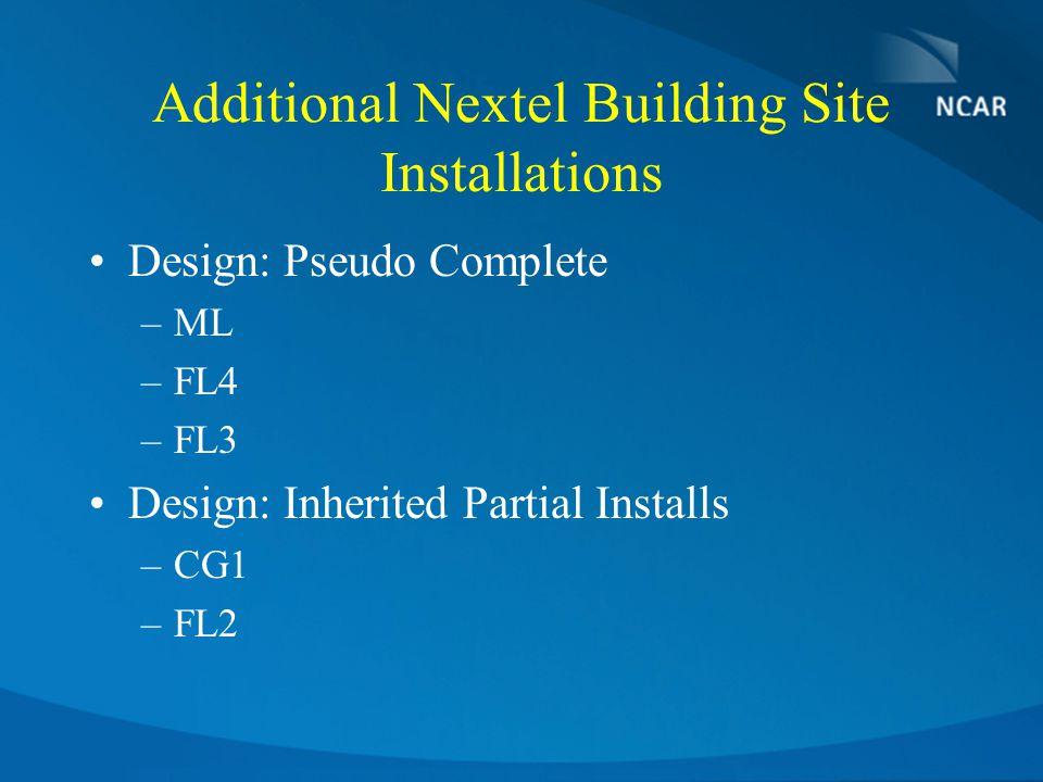 Additional Nextel Building Site Installations Design: Pseudo Complete –ML –FL4 –FL3 Design: Inherited Partial Installs –CG1 –FL2