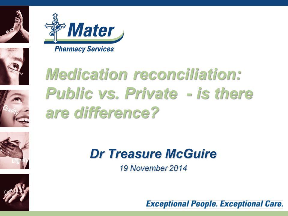 Dr Treasure McGuire 19 November 2014 Medication reconciliation: Public vs.