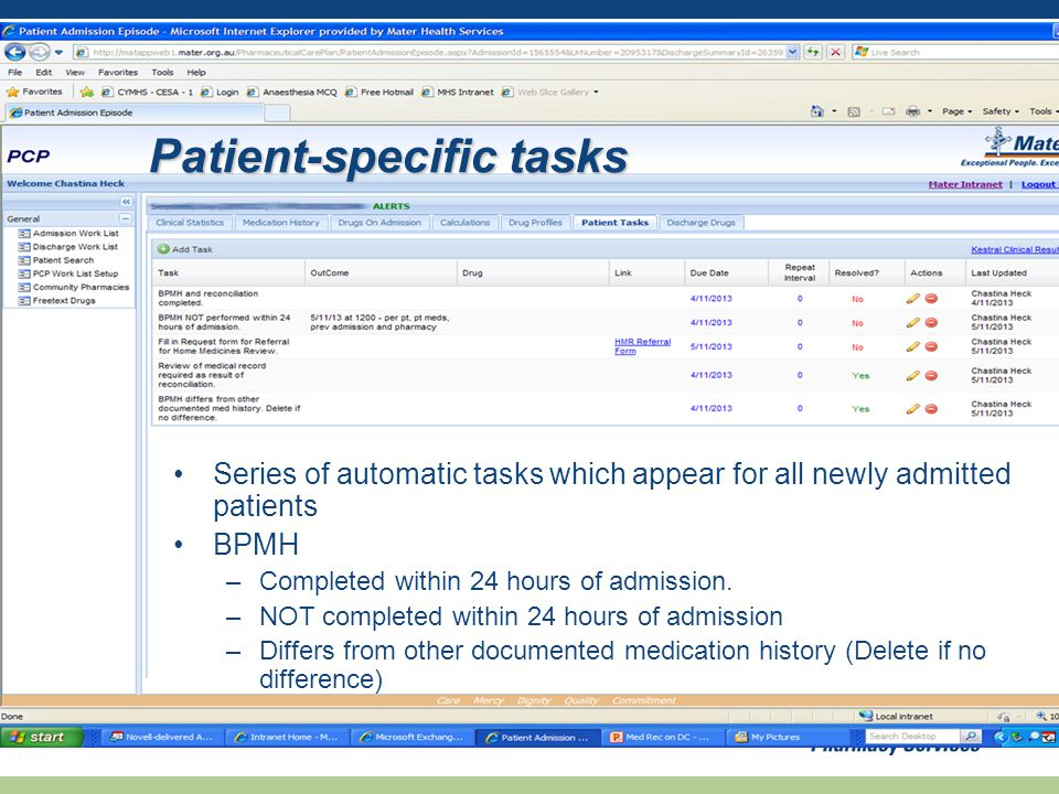 Series of automatic tasks which appear for all newly admitted patients BPMH –Completed within 24 hours of admission.
