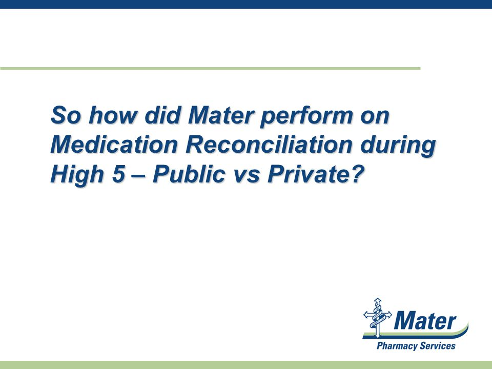 So how did Mater perform on Medication Reconciliation during High 5 – Public vs Private?