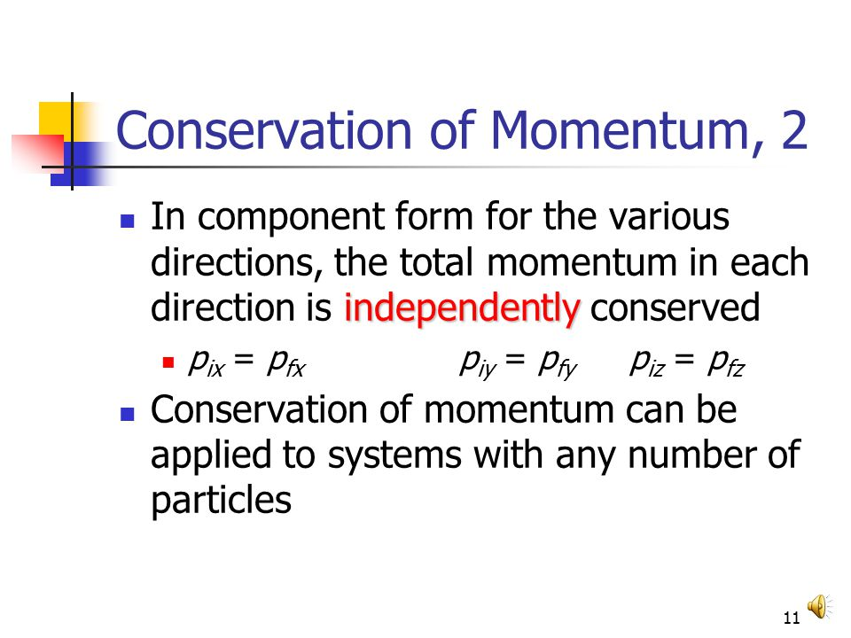 10 Conservation of Momentum, 2 Conservation of momentum can be expressed mathematically in various ways p total = p 1 + p 2 = constant p 1i + p 2i = p 1f + p 2f final Sum Initial Sum