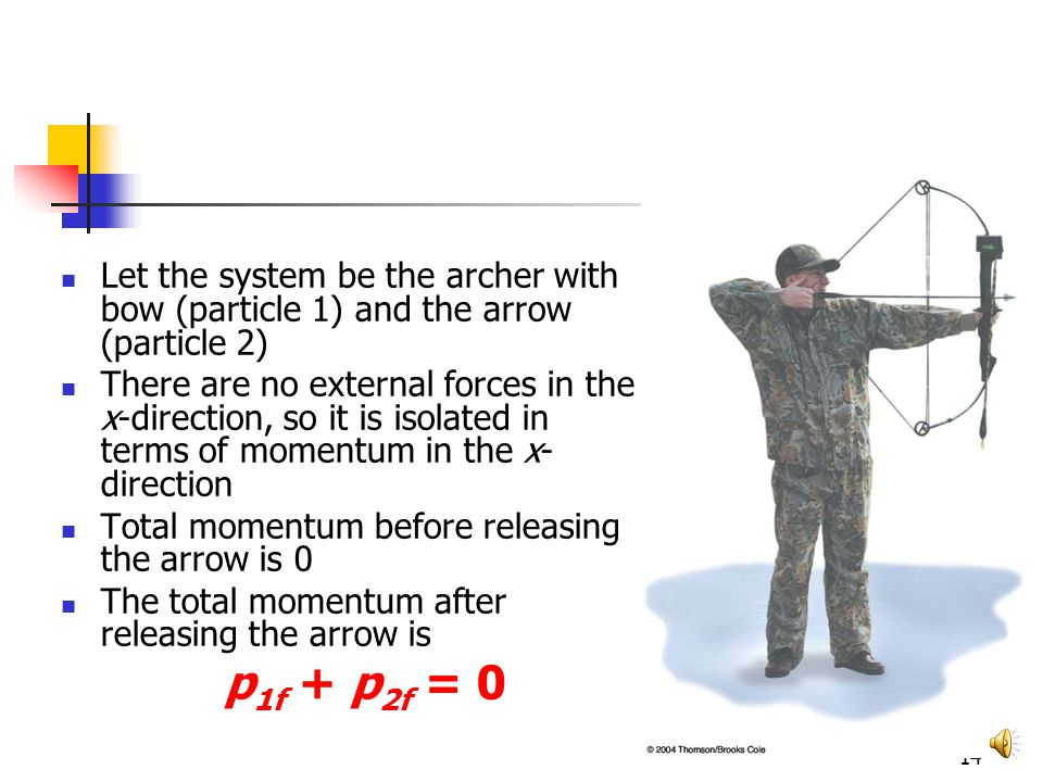 13 Conservation of Momentum, Archer Example Approaches to solve this problem: Newton's Second Law – no, no information about F or a Energy approach – no, no information about work or energy Momentum – yes