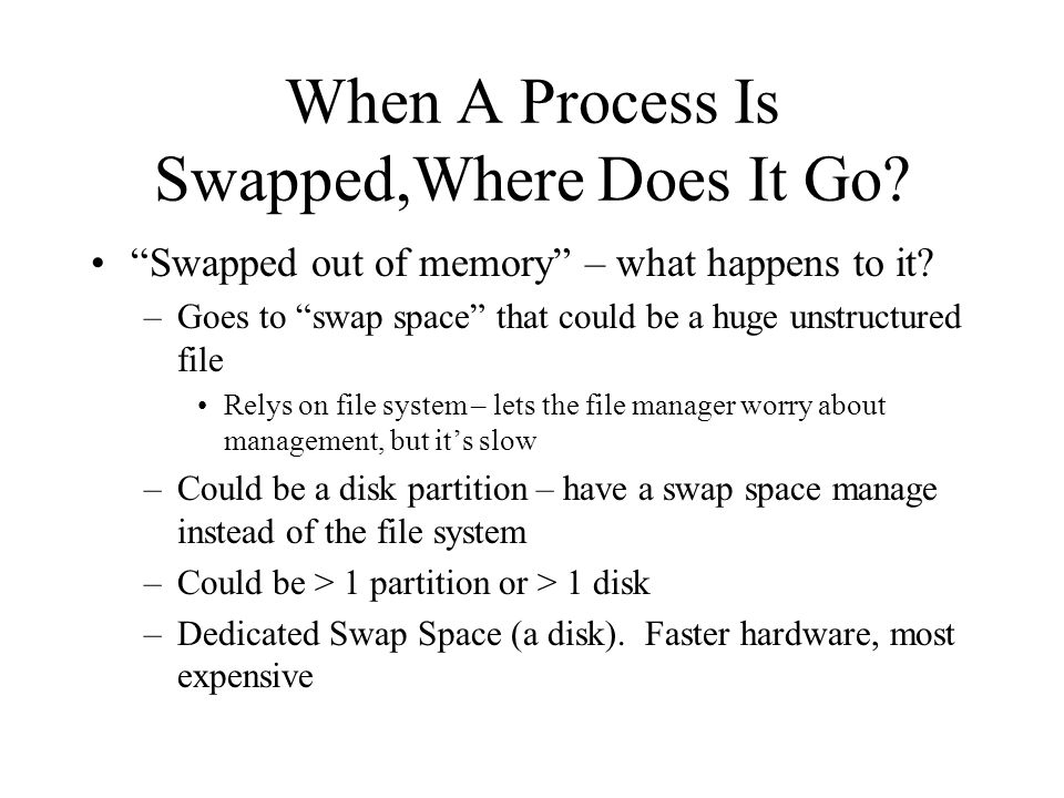 When A Process Is Swapped,Where Does It Go. Swapped out of memory – what happens to it.