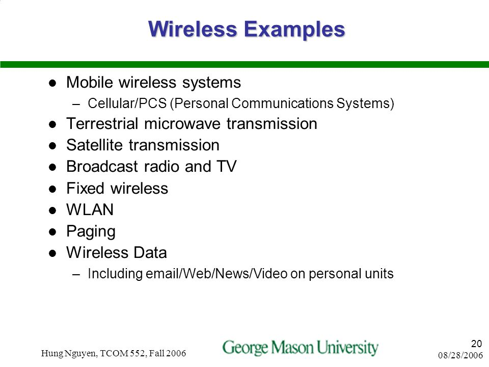 08/28/2006 Hung Nguyen, TCOM 552, Fall 2006 19 CATEGORIES OF MOBILITY Portable Transportable Untethered Mobile In Building Wireless LAN