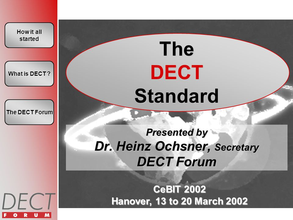 CeBIT 2002 Hanover, 13 to 20 March 2002 How it all started How it all started The DECT Standard Presented by Dr. Heinz Ochsner, Secretary DECT Forum W