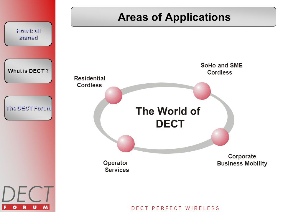 D E C T P E R F E C T W I R E L E S S Areas of Applications How it all started How it all started What is DECT ? What is DECT ? The DECT Forum The DEC